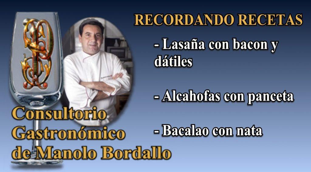 Lasaña con bacon, Alcachofas con panceta, Bacalao con nata (3 vídeos)