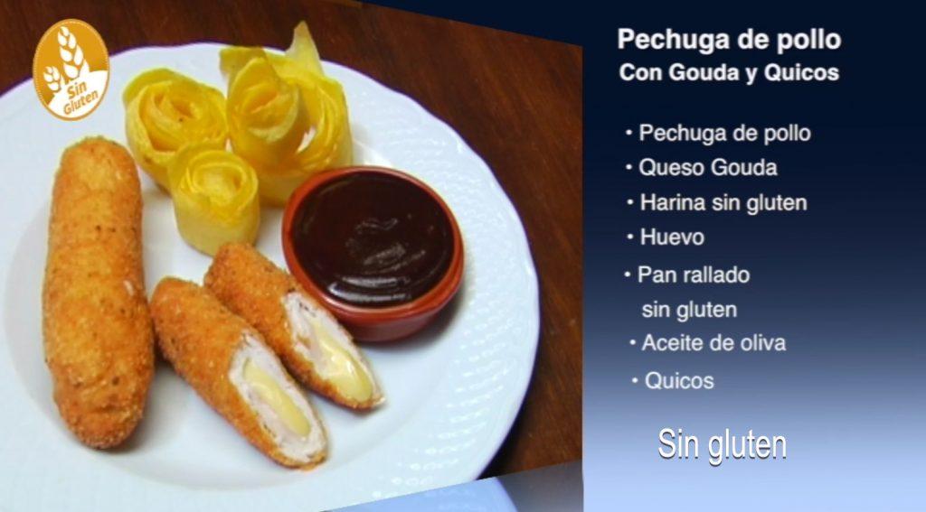 Pechuga de pollo con gouda y quicos sin gluten (con vídeo)