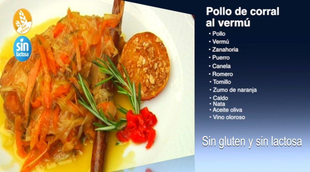 Pollo de corral al vermú sin gluten y sin lactosa (con vídeo)